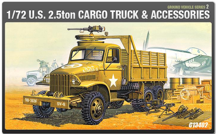 AC13402 WWII GROUND VEHICLE SET- 2 U.S. 2.5 TON 6×6 CARGO TRUCK & ACCESSORY(1/72)