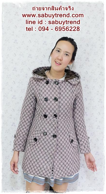((ขายแล้วครับ))((คุณMeemeeจองครับ))ca-2626 เสื้อโค้ทกันหนาวผ้าถักลายชมพูเทา รอบอก34