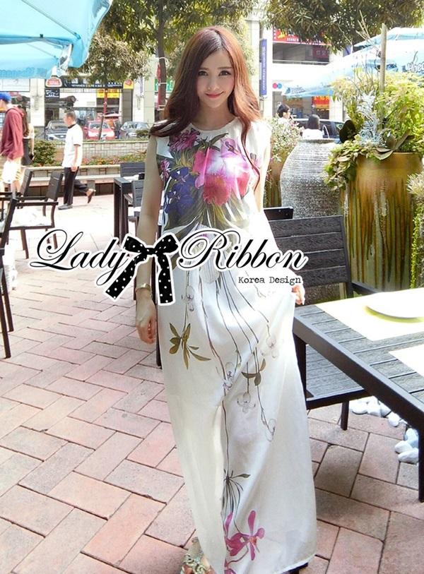 Lady Ribbon Mix Orchid Printed Chiffon Maxi Dress