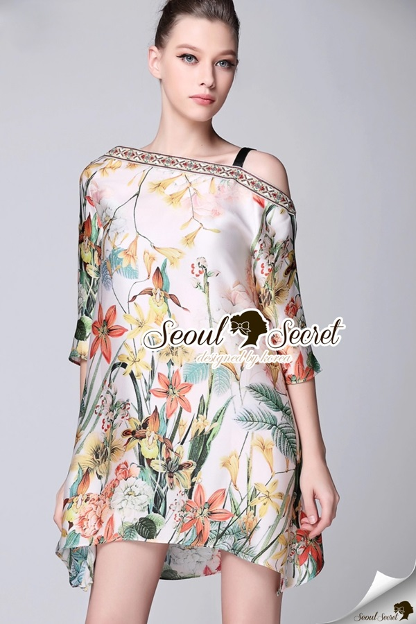 Seoul Secret Chic Bohe Oblique Shoulders Dress