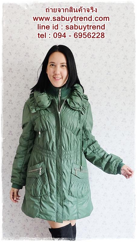 ((ขายแล้วครับ))((จองแล้วครับ))ca-2578 เสื้อโค้ทกันหนาวผ้าร่มสีเขียว รอบอก42