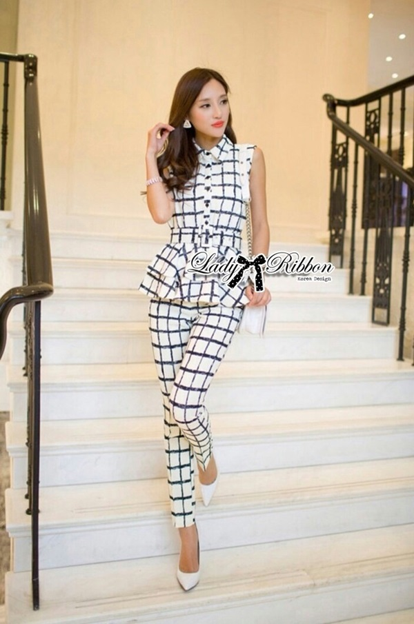 Lady Ribbon Lady Black&White Checkmate Trousers Set