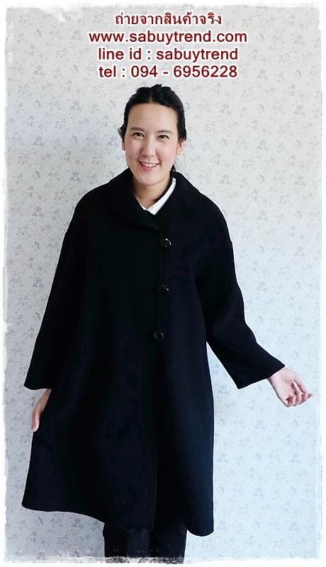 ((ขายแล้วครับ))((คุณNingจองครับ))ca-2546 เสื้อโค้ทกันหนาวผาวูลสีดำ รอบอก46