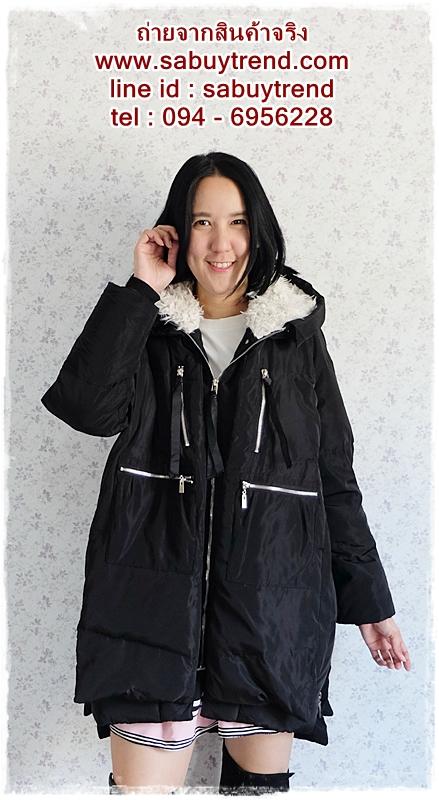 ((ขายแล้วครับ))((คุณพัณณ์นิญาจองครับ))ca-2648 เสื้อโค้ทกันหนาวผ้าร่มขนเป็ดสีดำ รอบอก44