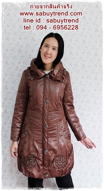 ((ขายแล้วครับ))((จองแล้วครับ))ca-2601 เสื้อโค้ทกันหนาวผ้าร่มสีน้ำตาลกะปิ รอบอก38