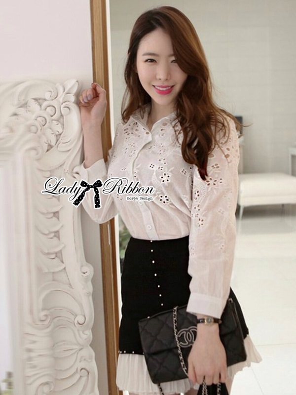 Lady Ribbon Cotton Shirt เสื้อเชิ้ตผ้าคอตตอน ฉลุลายลูกไม้