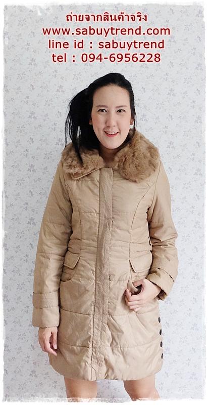 ((ขายแล้วครับ))(จองแล้วครับ))ca-2789 เสื้อโค้ทกันหนาวผ้าร่มีกากี รอบอก37