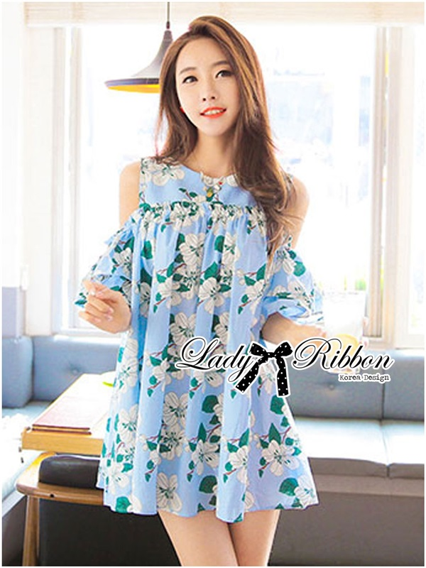 Lady Ribbon Cut-Out Flower Printed Blue Dress