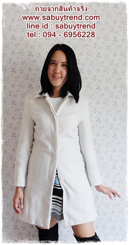 ((ขายแล้วครับ))((คุณNatจองครับ))ca-2585 เสื้อโค้ทกันหนาวผ้าวูลสีขาว รอบอก34
