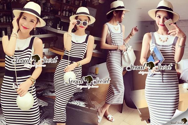 Seoul Secret Chic Stripy Bib Dress