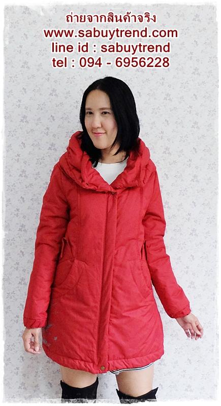 ((ขายแล้วครับ))((คุณSirlukจองครับ))ca-2603 เสื้อโค้ทกันหนาวผ้าร่มสีแดง รอบอก40