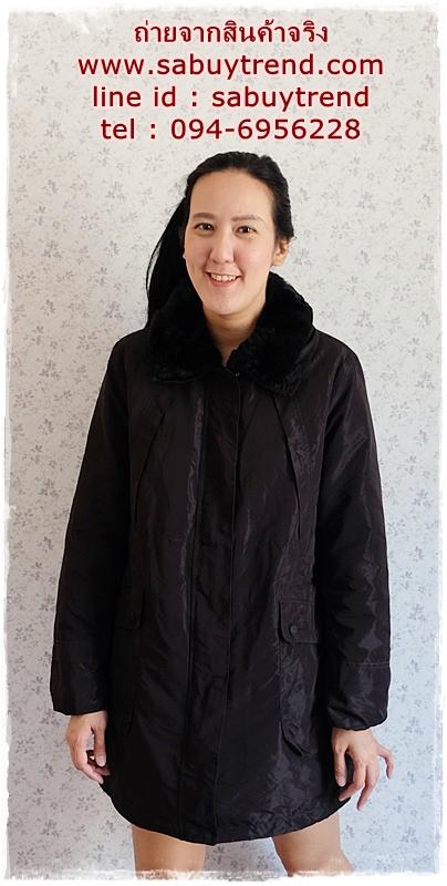 ((ขายแล้วครับ))ca-2880 เสื้อโค้ทขนเป็ดสีดำ รอบอก43