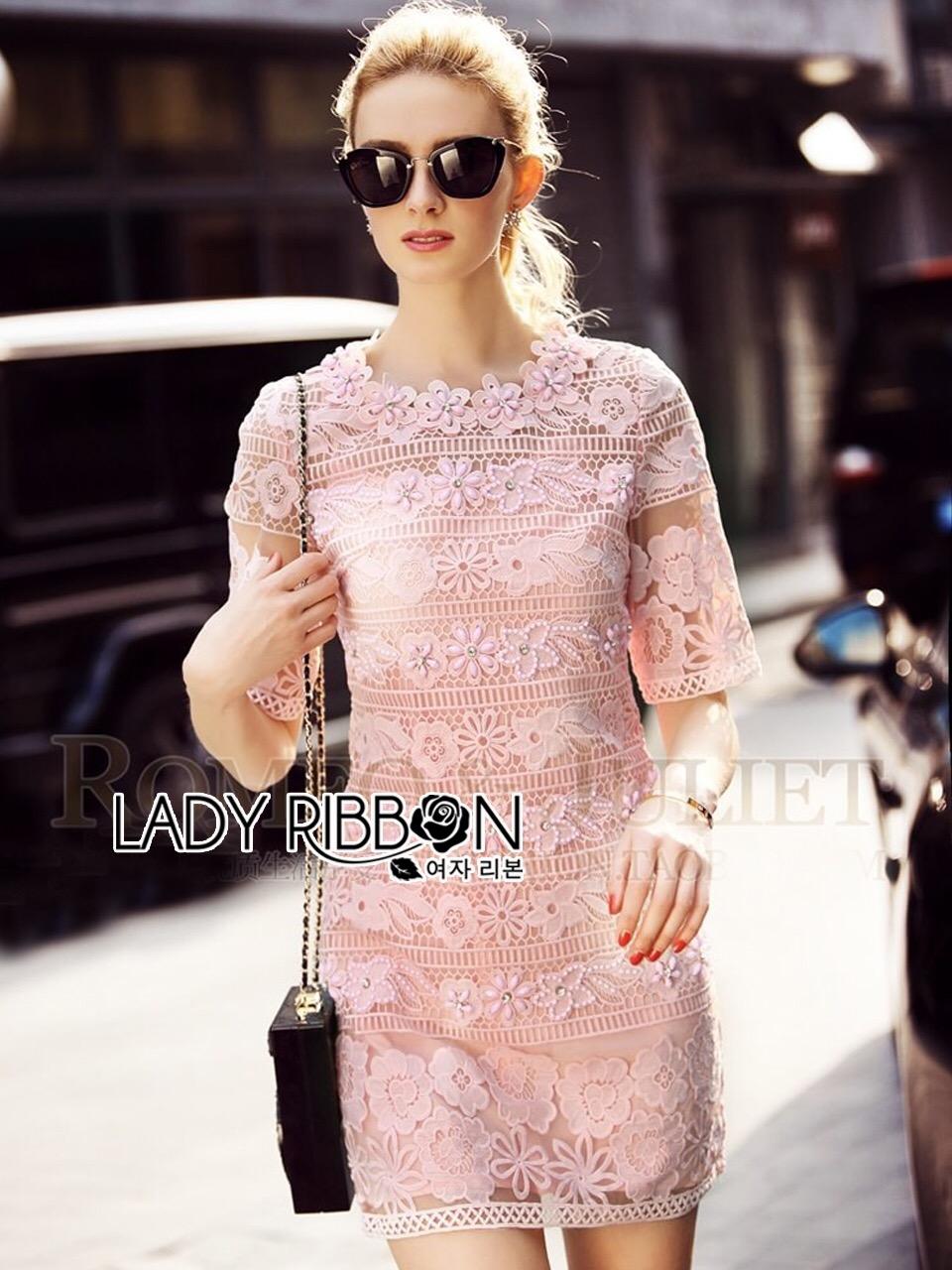 Lady Ribbon เดรสผ้าลูกไม้สีชมพู