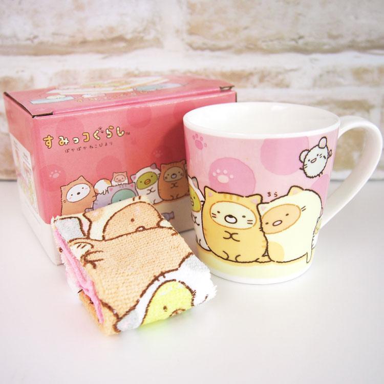 ชุดแก้ว+ผ้าเช็ดหน้า Sumikko Gurashi แมวสีชมพู