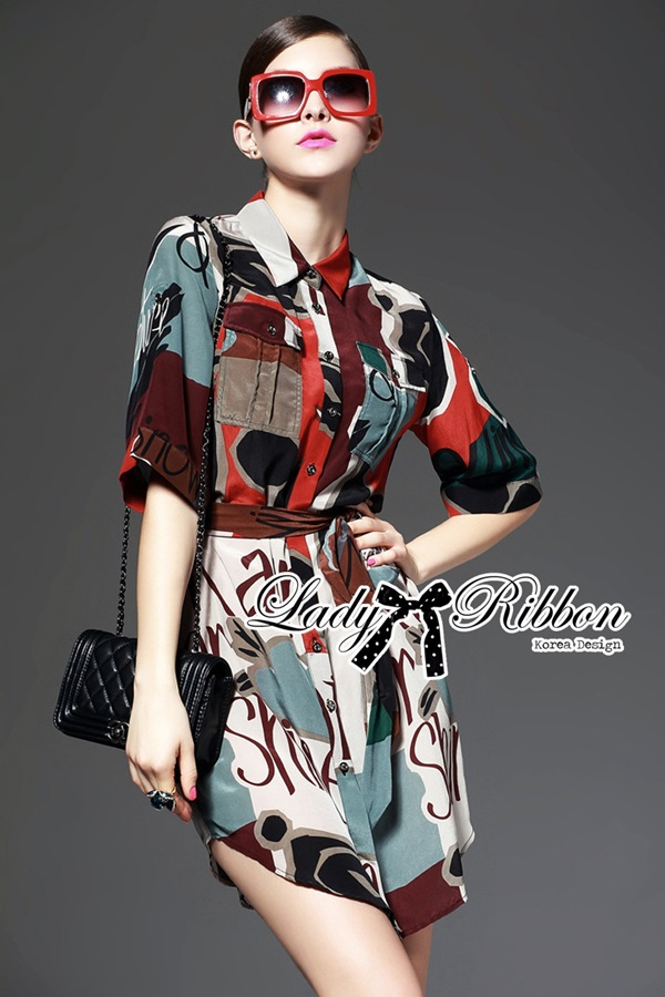 Lady Ribbon Creative Painting Colourful Shirt Dress