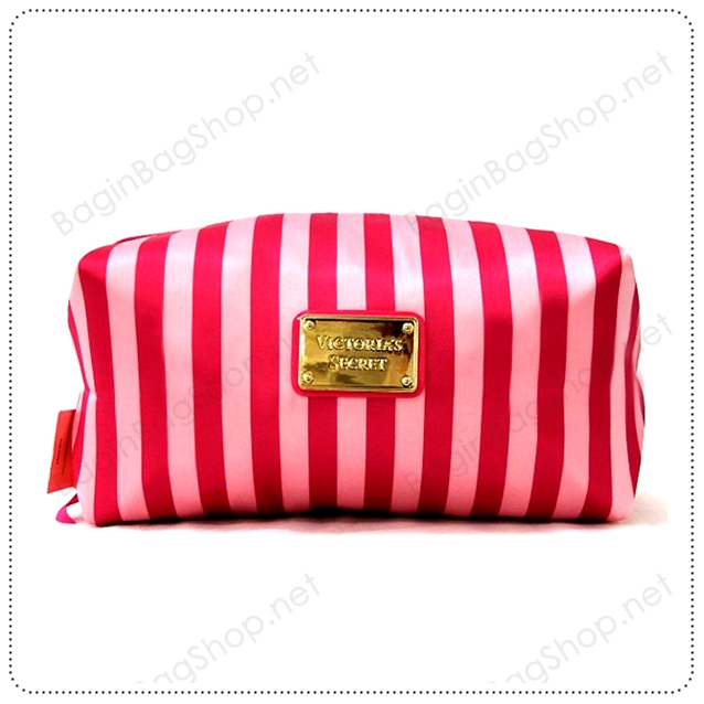 &#x2764️ VS Signature Hot Pink Strip Cosmetic Pouch