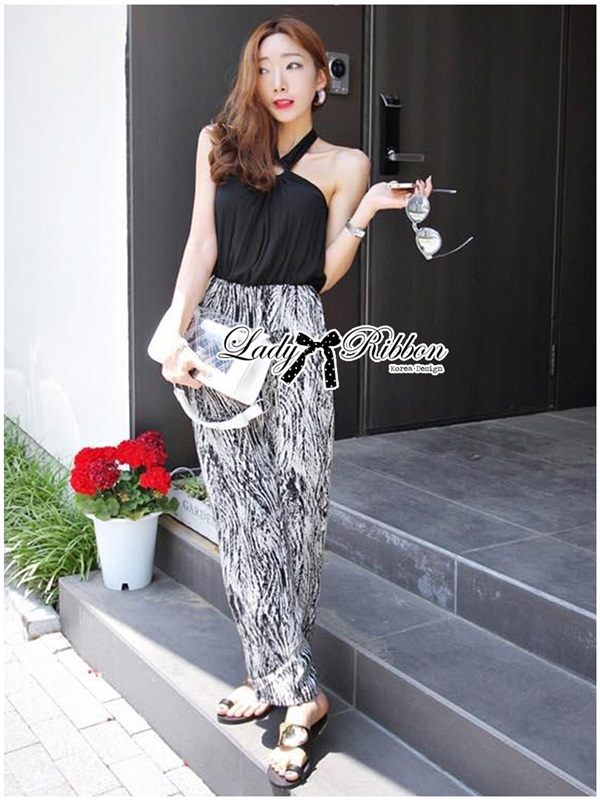 Lady Ribbon Smart Sexy Abstract Print Jumpsuit