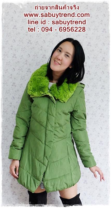 ((ขายแล้วครับ))((คุณKaiจองครับ))ca-2607 เสื้อโค้ทกันหนาวผ้าร่มสีเขียว รอบอก38