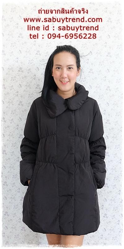 ((ขายแล้วครับ))((จองแล้วครับ))ca-2754 เสื้อโค้ทขนเป็ดสีดำ รอบอก40