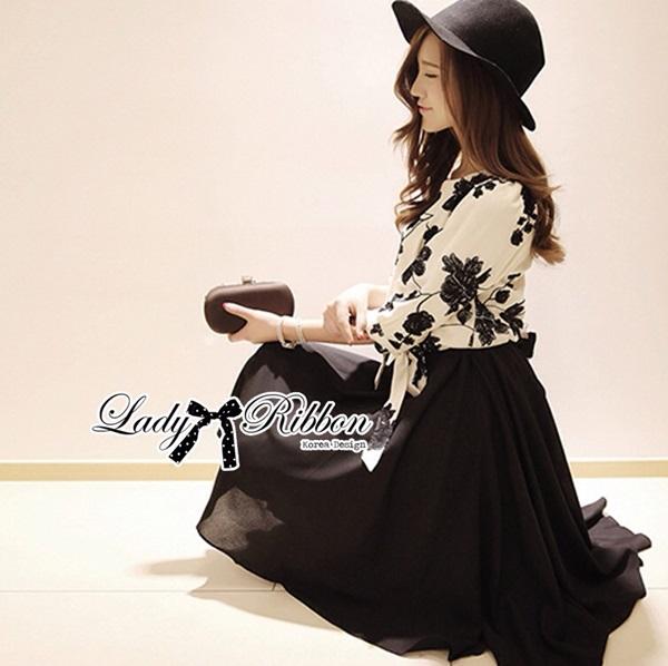 Lady Ribbon ชุดเซ็ตเสื้อปักลายดอกไม้ พร้อมกระโปรงยาว