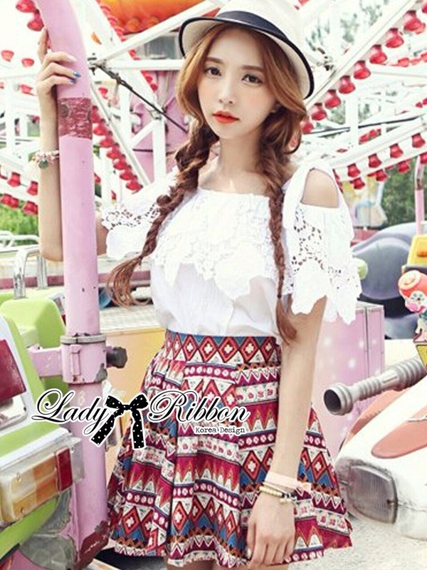Lady Ribbon Sweet Delicate Lace and Bow Top