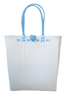 กระเป๋า ก้นเหลี่ยม หูสีฟ้า (AU-F3)ขนาดโดยประมาณ กว้าง 10 cm.ยาว 35 cm.สูง 34 cm.
