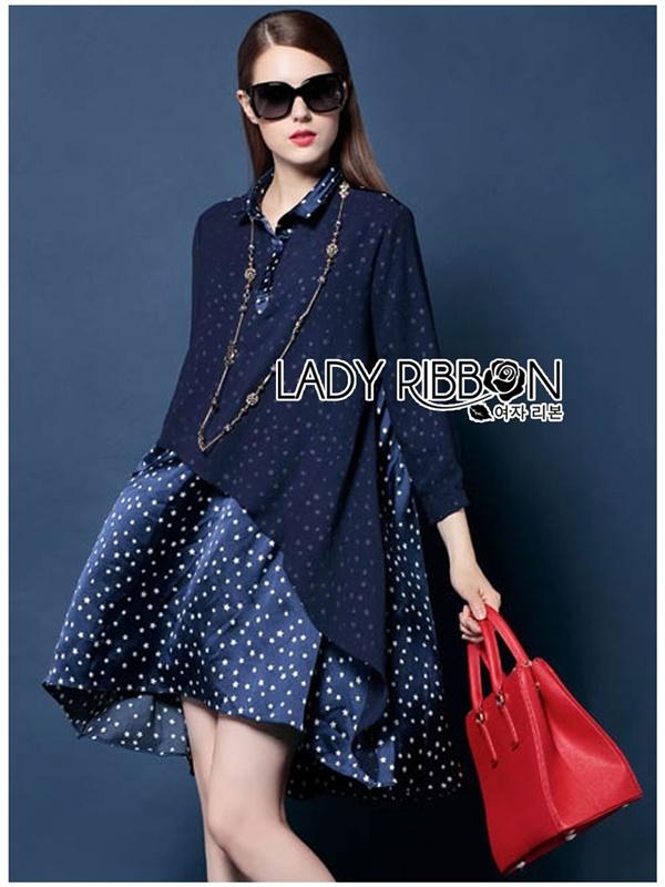 Lady Ribbon Dress เดรสพิมพ์ลายดาว