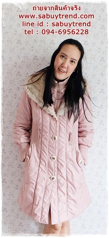 ((ขายแล้วครับ))((จองแล้วครับ))ca-2831 เสื้อโค้ทกันหนาวผ้าร่มีชมพู รอบอก36