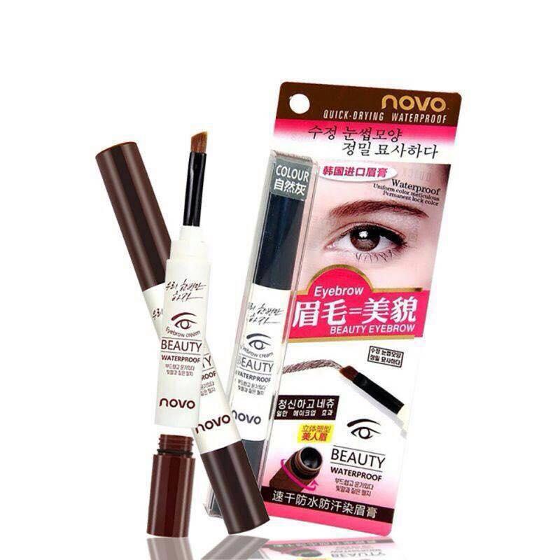Novo Eyebrow Cream Beauty Waterproof 3 ml. เจลครีม เขียนคิ้ว กันน้ำ 100%