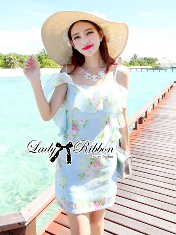 Lady Ribbon Sweet Floral Printed Silk Cotton Ruffle Dress