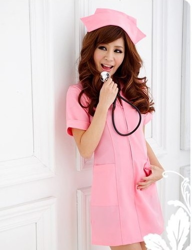 ชุดพยาบาลคอสเพลย์ เดรสแขนสั้น สีชมพูหวานน่ารัก กระเป๋าสองข้าง พร้อมหมวกเข้าชุด