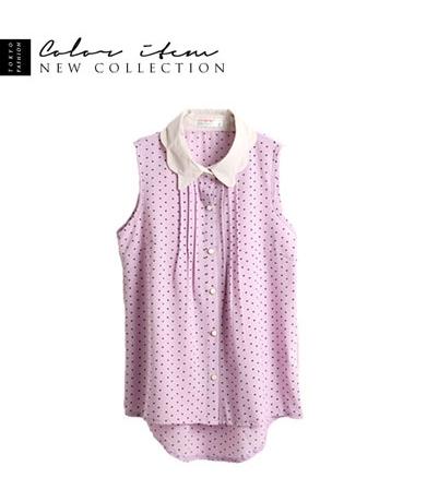 Tokyo Fashion เสื้อเชิ้ตแขนกุด สีม่วงอ่อน ลายหัวใจเล็กๆ แต่งปกสีครีม