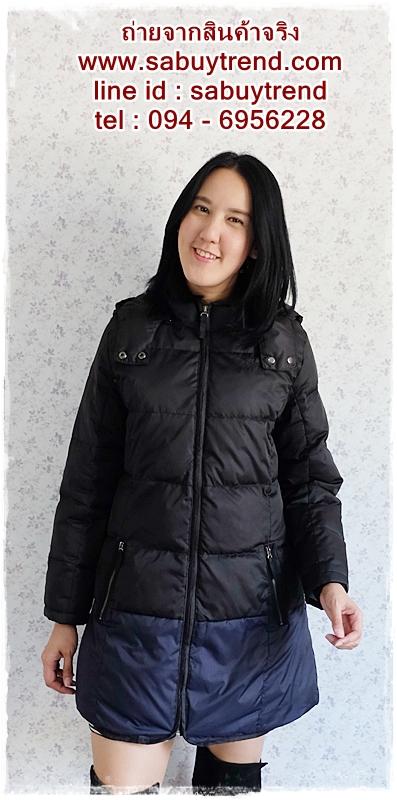 ((ขายแล้วครับ))((คุณอติจองครับ))ca-2647 เสื้อโค้ทกันหนาวผ้าร่มขนเป็ดสีดำ รอบอก42