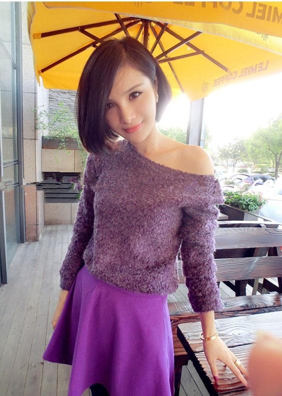 Lovely Purple Set ชุดเสื้อไหมพรม พร้อมกระโปรงสั้น ผ้ากำมะหยี่ สีม่วง