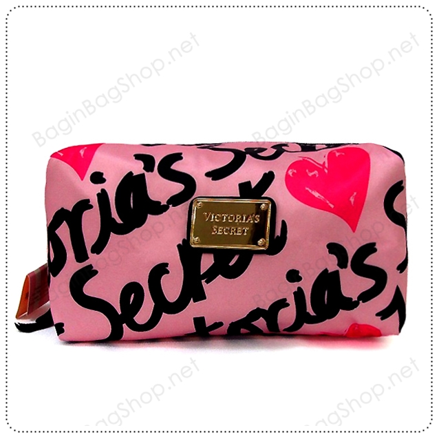 &#x2764️ VS Signature Print Pink with Black Cosmetic Pouch