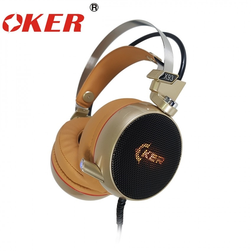 หูฟัง Oker X93 Gaming headset 7.1 Surround /vibration (Gold)