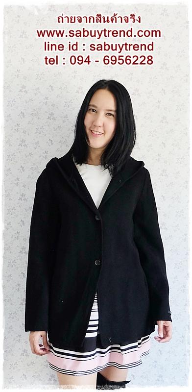 ((ขายแล้วครับ))((จองแล้วครับ))ca-2656 เสื้อโค้ทกันหนาวผ้าวูลสีดำ รอบอก40