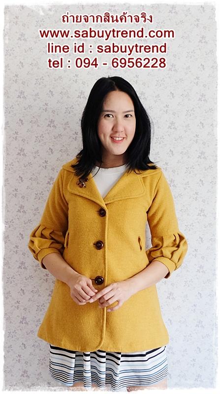((ขายแล้วครับ))((จองแล้วครับ))ca-2673 เสื้อโค้ทกันหนาวผ้าวูลสีเหลือง รอบอก32