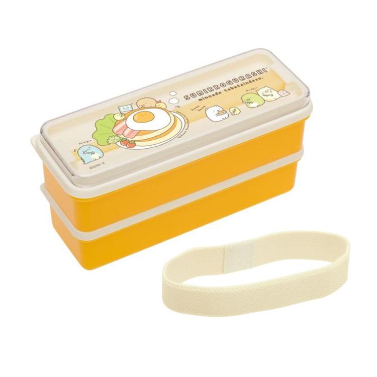 กล่องข้าว 2 ชั้นพร้อมตะเกียบ Sumikko Gurashi สีเหลือง