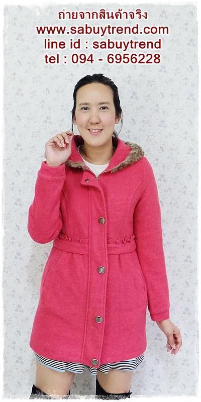 ((ขายแล้วครับ))((คุณBowvyจองครับ))ca-2627 เสื้อโค้ทกันหนาวผ้าวูลสีชมพู รอบอก33