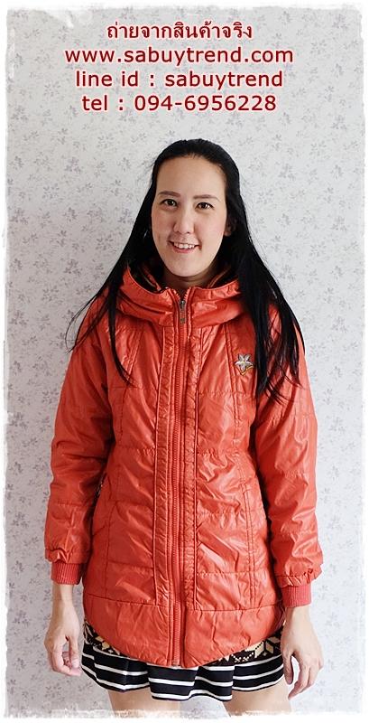 ((ขายแล้วครับ))ca-2827 เสื้อโค้ทกันหนาวผ้าร่มสีส้ม รอบอก38