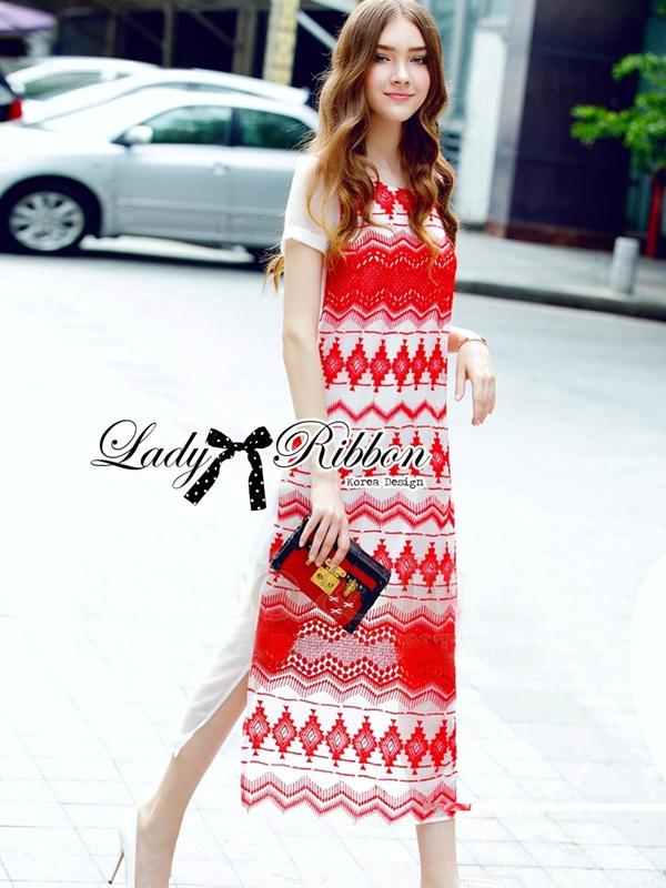 Lady Ribbon Tribal Embroidered Silk Chiffon Midi Dress