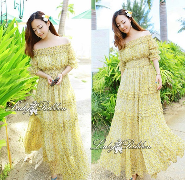 Lady Ribbon Vintage Fabulous Chiffon Off-shoulder Maxi