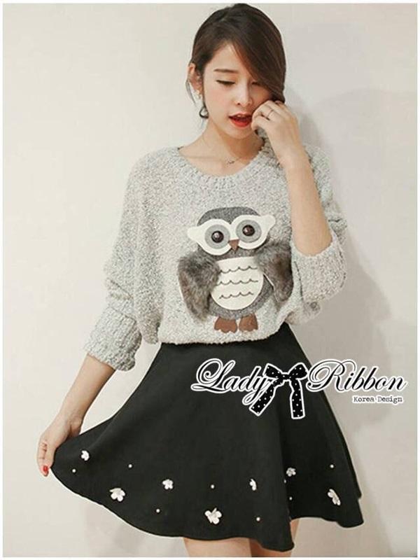 Lady Ribbon Owl Fur Sweater and Flower Embellished Skirt Set