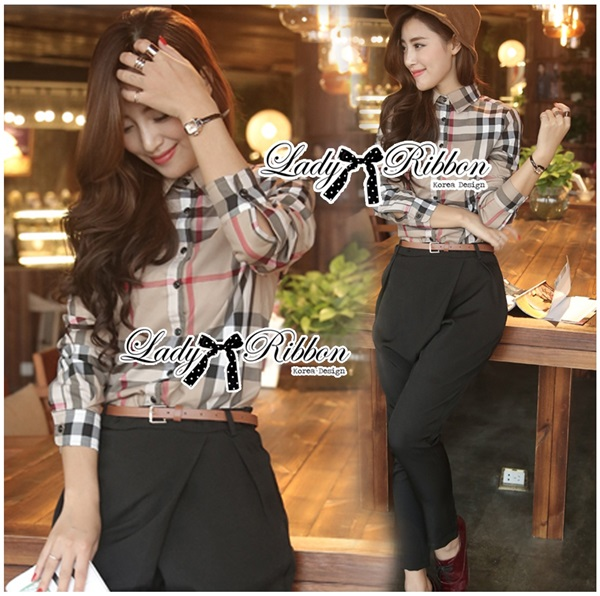Lady Ribbon Burberry Style Plaid Shirt and Black Pants