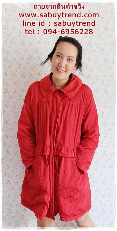ca-2840 เสื้อโค้ทกันหนาวผ้าร่มสีแดง รอบอก42