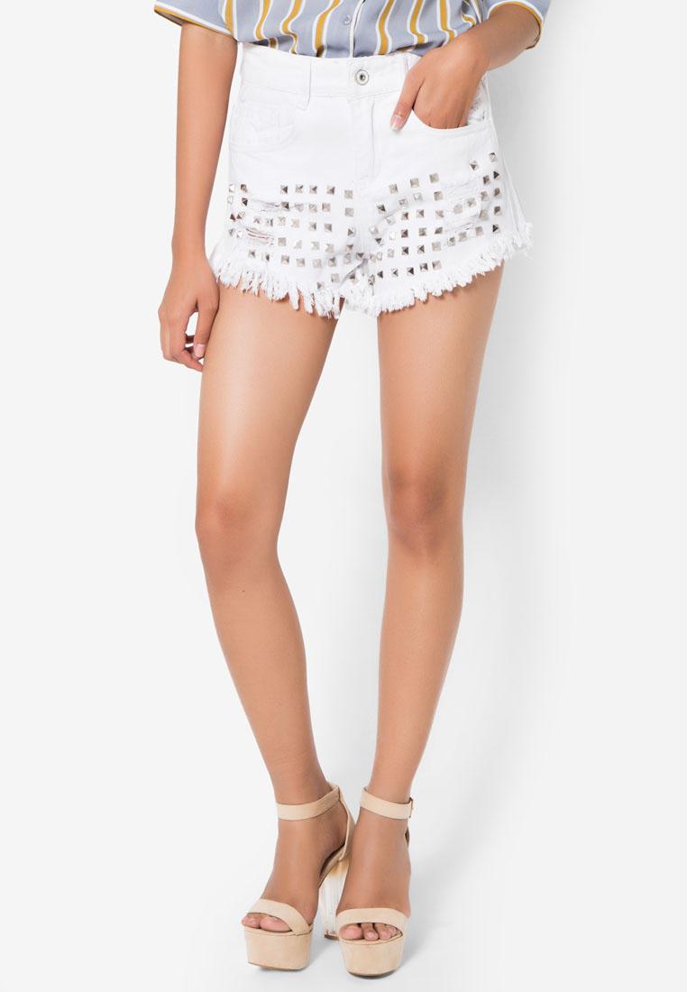กางเกงยีนส์ขาสั้น Studded Overall Denim