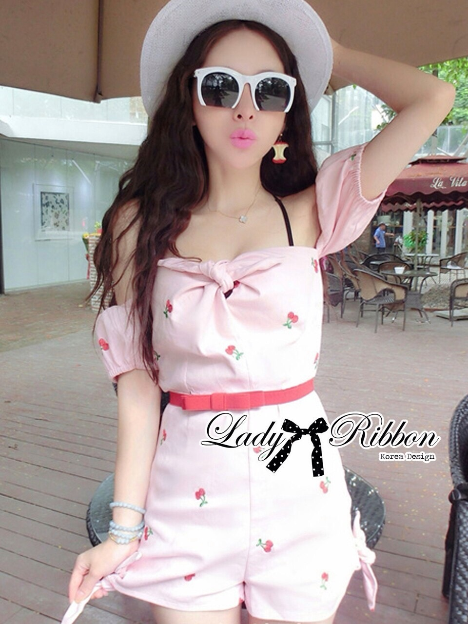 Lady Ribbon Cherry Embroidered Jumpsuit with Bow