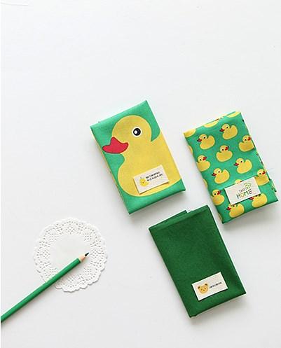 ผ้าคอตต้อนเกาหลีจัดเซต Rubber Duck - Green three kinds ขนาด 27.5x45cm จำนวน 3 ชิ้น