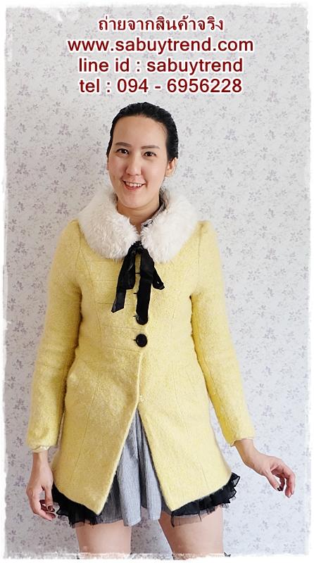 ((ขายแล้วครับ))((คุณAengจองครับ))ca-2707 เสื้อโค้ทกันหนาวผ้าถักสีเหลือง รอบอก33